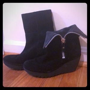Fly London Black Suede Wedge Ankle Boot